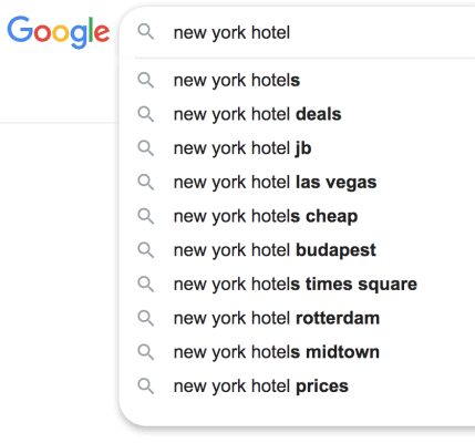 Sample of Google's autocomplete